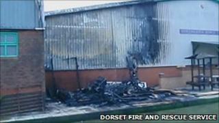 Fire-damaged bowls club building