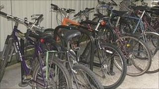Cycles parked in a shed