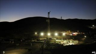 San Jose mine at night
