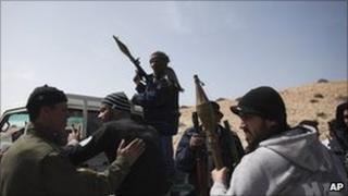 Anti-Gaddafi rebels outside Brega. Photo: 2 March 2011