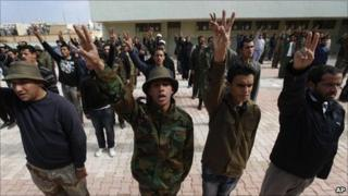 Recruits to anti-Gaddafi forces in Benghazi, Libya - 3 March 2011