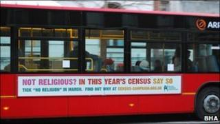 A bus featuring a poster by the British Humanist Association