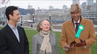 Farid Bakht (left) , Jenny Jones and Shahrar Ali