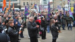 Protesters in Sheffield