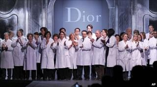Dior staff on catwalk at end of show