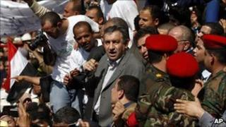 Egypt's new Prime Minister Essam Sharaf speaking in Cairo's Tahrir Square - 4 March 2011