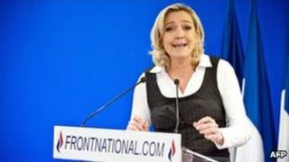 Marine Le Pen speaks at National Front headquarters in Nanterre, west of Paris, 21 February