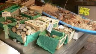 Oysters and other seafood on market stall in Paris