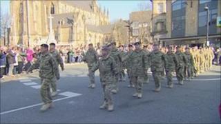 Medics from 207 Field Hospital on parade