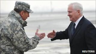 Isaf Commander Gen David Petraeus greets US Defence Secretary Robert Gates in Kabul