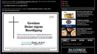 Radio Galaxy epitaph competition on website - screen grab