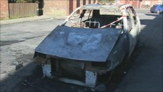 One of the burnt out cars in Wick in Littlehampton