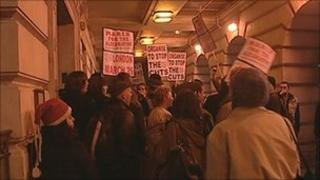 Protesters outside the Council House