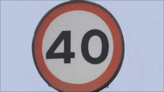 40mph sign
