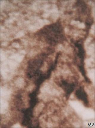 A frame taken from footage in 1967 featuring a large, furry creature