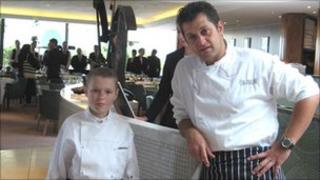 James Nicoll with chef Mickael Weiss