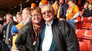 Philip Blakemore with his daughter Pauline Green at a Blackpool FC match