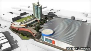Artist's impression of East End Foods cash and carry, hotel and conference development in Aston
