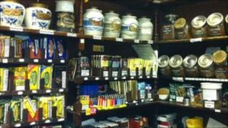 Shelves of stock at Harrison and Simmonds