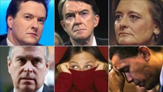 George Osborne; Peter Mandelson; Cherie Blair; Barack Obama; embarrassed woman; Prince Andrew