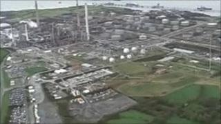 The Chevron oil refinery in Pembrokeshire