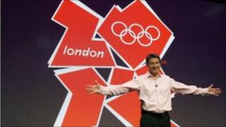 London 2012 Chairman Sebastian Coe in front of the London 2012 Olympic logo