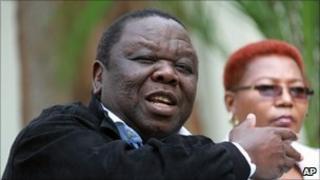 Zimbabwean Prime Minster Morgan Tsvangirai, addresses a press conference in Harare, Wednesday, 2 March, 2011
