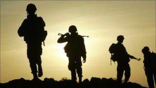 Sri Lankan soldiers silhouetted - 2007