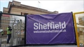 Metal barrier outside Sheffield City Hall
