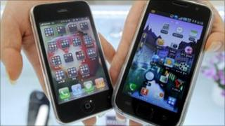 An iPhone and Samsung Galaxy