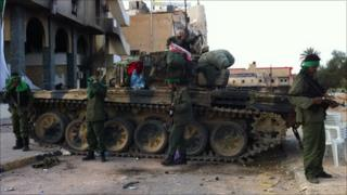 Fighters loyal to Col Gaddafi in Zawiya, Libya