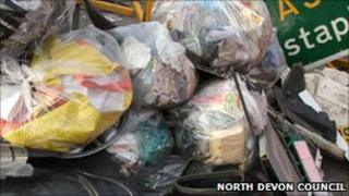 Bags of litter. Pic: North Devon Council