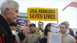 Sir Alan Massey of the MCA spoke to protesters when he visited Milford Haven