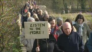 Protest at Aylestone Meadows