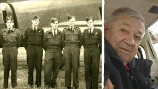 Des Thomas (centre) during WWII and after his flight from Haverfordwest