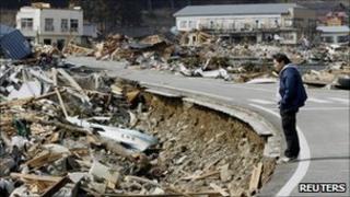 Quake damage in Ofunato town, in Iwate prefecture