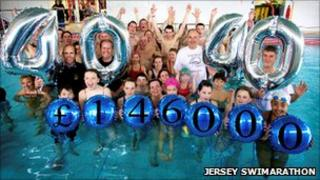 Swimmers celebrate with representatives from the Lions Club of Jersey and RBC Wealth Management