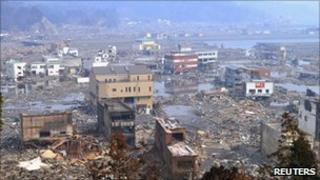 A destroyed landscape is pictured in Otsuchi town