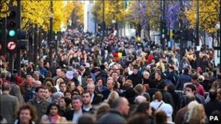 People in a busy Oxford Street in central London