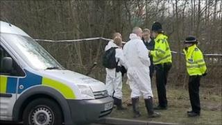 Crime scene near the Wimsy Way industrial estate near Somercotes where a body was found