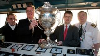 The Railway Cup being transported on the Isle of Man Steam Packet