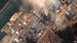 DigitalGlobe satellite photograph shows the earthquake and tsunami-damaged Fukushima Daiichi nuclear plant on 14 March 2011