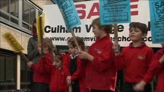 Pupils from Culham school protesting outside County Hall