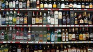 Drink on display at an off-licence