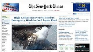 New York Times website, 17 March 2011