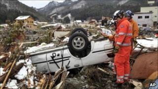 British rescuers in Kamaishi, northern Japan