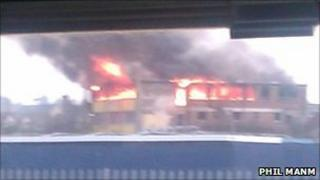 Bridge House in Colchester on fire