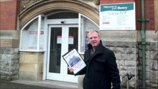 Howard Smith outside Weston-super-Mare library