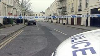 Police cordon at Grosvenor Place South in Cheltenham