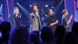 Westlife performing at Children in Need in 2009